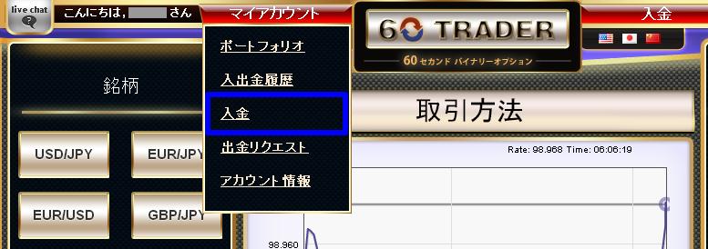 海外バイナリーオプション業者【60Trader】の入金手順