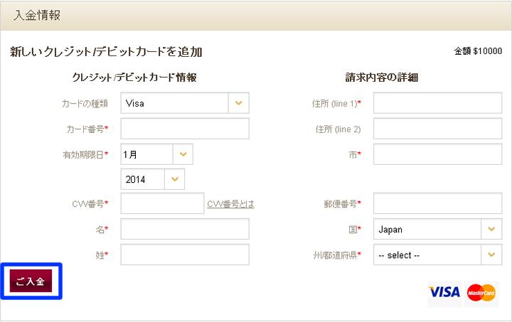 海外バイナリーオプション業者【シーダーファイナンス】のクレジット入金時入力事項